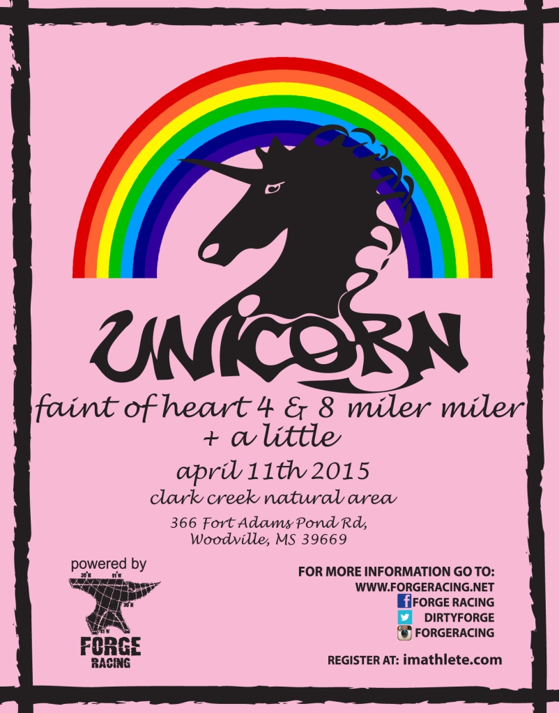 2015 Unicorn-faint of heart 4 & 8 miler poster