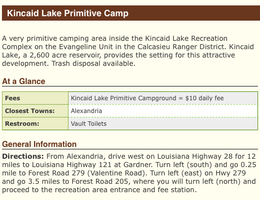 Kincaid Lake Primitive Camping