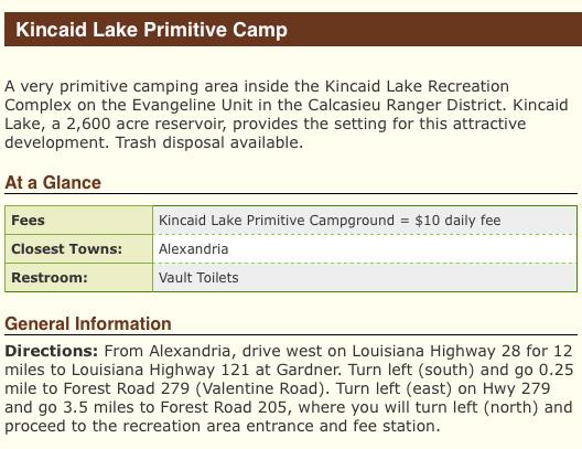 Kincaid Lake Primitive Camping